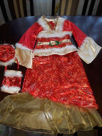 Карнавальне новорічне плаття платье Снегурка снігурка помощница Санта