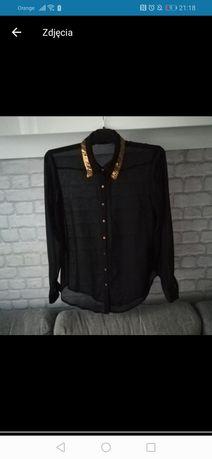 Czarna koszula mgiełka XL 42 hm kołnierzyk złote cekiny