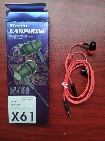 Наушники вставные проводные с микрофоном X61 extra bass red