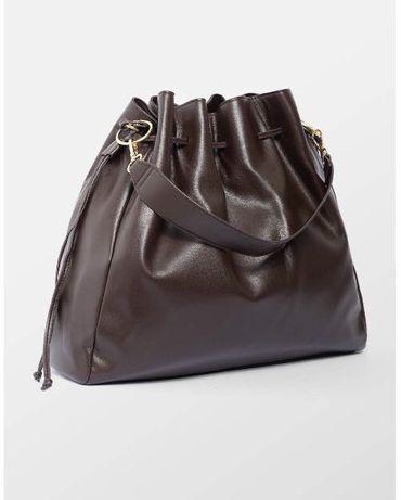 Nowa brązowa torebka typu worek Orsay