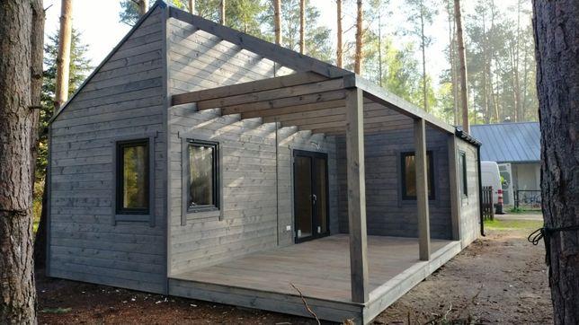 Domek drewniany całoroczny, wykończony 35 m2 na zgłoszenie