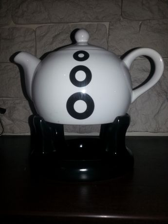Dzbanek z podgrzewaczem ceramiczny imbryk do herbaty kawy nowoczesny