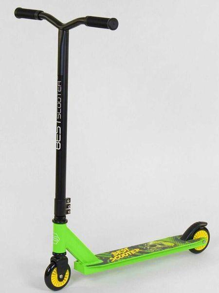 Трюковый самокат Best Scooter Y-347 САЛАТОВЫЙ с Жёлтым, для трюков