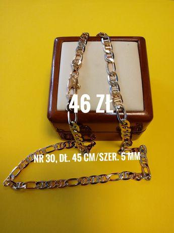 Łańcuszek złoto-srebrny, Stal Chirurgiczna, dł. 45 cm, szer. 5mm