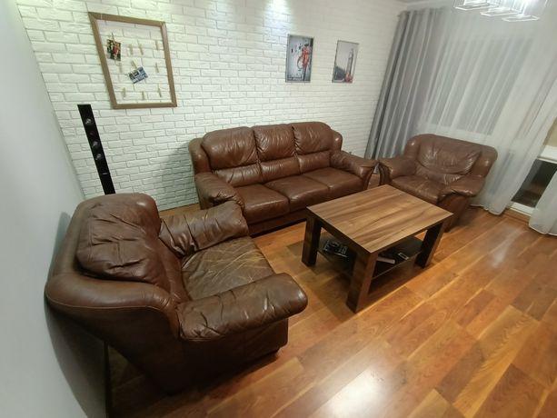 Komplet wypoczynkowy, meble skórzane kanapa + fotele