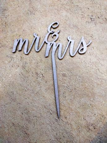 Topper na tort srebrny nowy Mr&Mrs