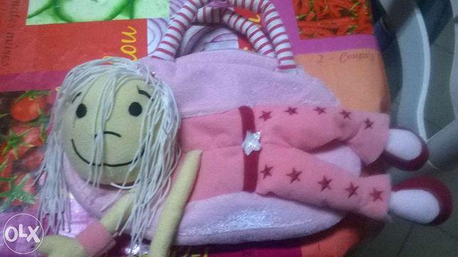 Mala criança boneca cor rosa