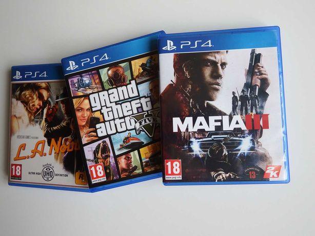 PS4 ZESTAW GANGSTERSKI 3 GRY GTA 5 L.A. Noire Mafia III komplet 3 gry