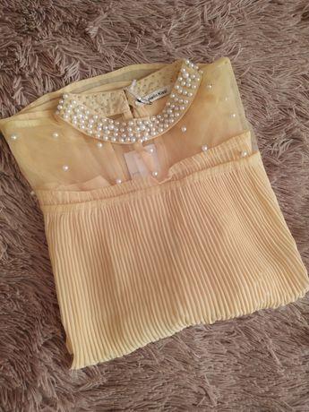 Блузка з перлинками плісерована