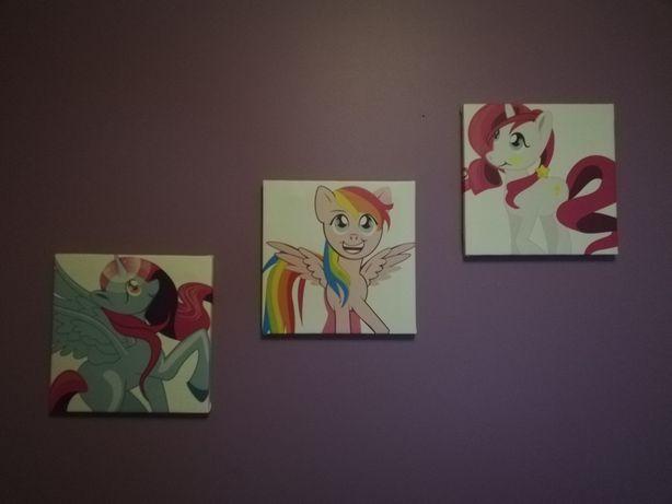 Obrazki na ścianę kucyki 3sztuki