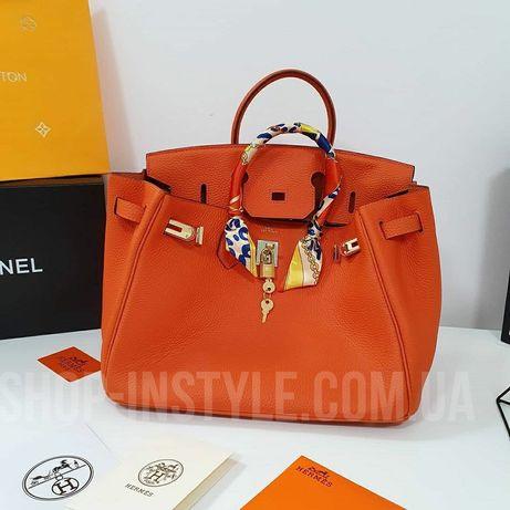Оранжевая кожаная женская сумка Hermes Birkin 35см эрме биркин. Разные