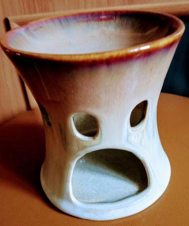 Ceramiczna kadzielnica brązowo kremowa