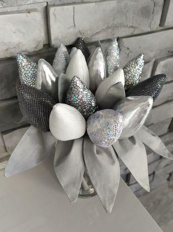 Tulipany PROMOCJA  glamour materiałowe błyszczące srebrne  urodziny