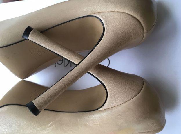 Туфли бежевые натуральная кожа размер 38, стелька 24,5, каблук 12 см