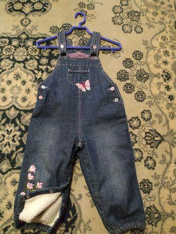 Комбинезон джинс зима 1-2 года, 300₽