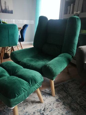 Fotel uszak z podnóżkiem butelkowa zieleń