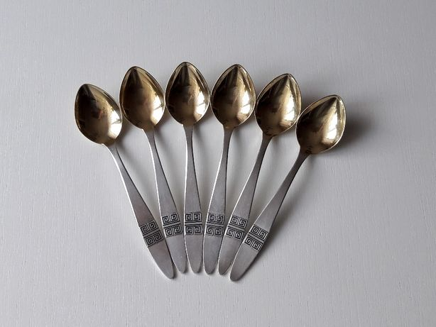 Срібні чайні ложки з позолотою - лот 1