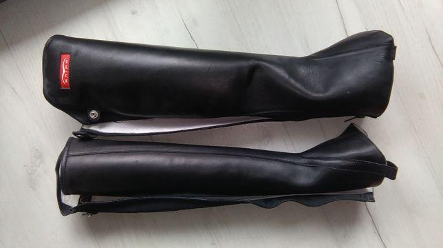 nowe,skórzane sztylpy czapsy jezdzieckie