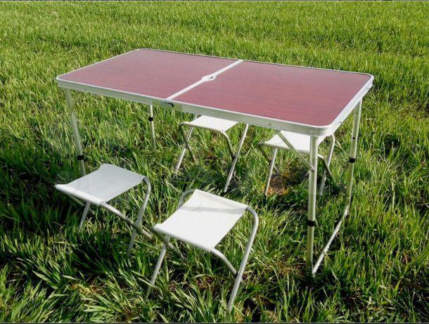 Стол для пикника, кемпинга, раскладной чемодан + 4 стула.