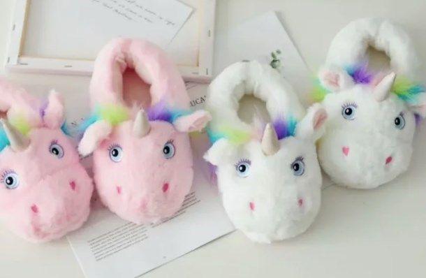 Тапочки мягкие Кигуруми Единорог белый, розовый (пушистые) M ( 36-39р)