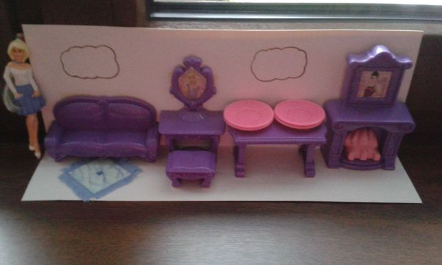 Meble mebelki dla lalek domek salon kominek kanapa 11 elementów