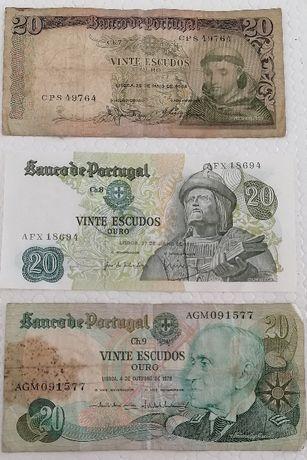 Notas de 20 escudos, colecionadores, 3 un
