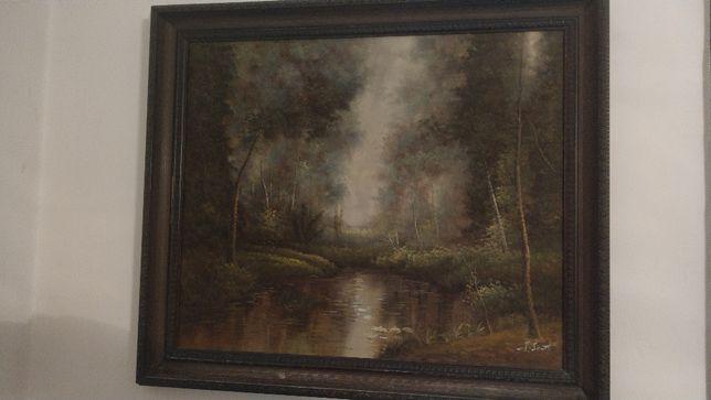 Obraz olejny leśny pejzaż, mokradła, rzeka