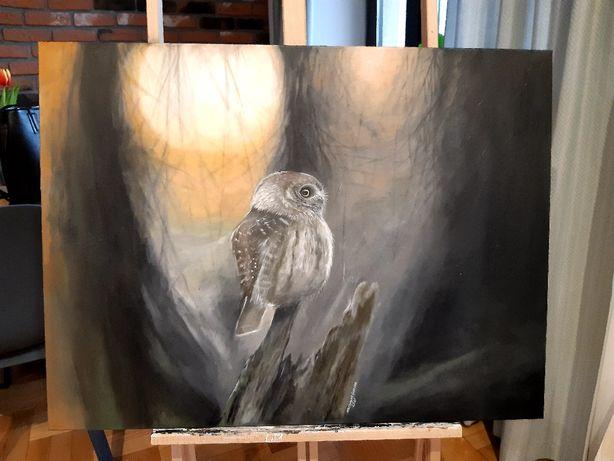 Sowa obraz akrylowy ręcznie malowany