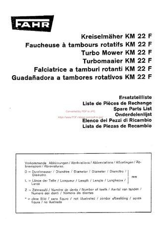 Katalog części kosiarka Deutz fahr KM 22 F