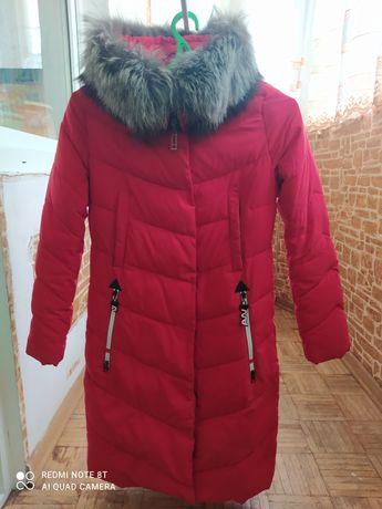 Зимний пуховик, пальто с натуральным мехом писец.
