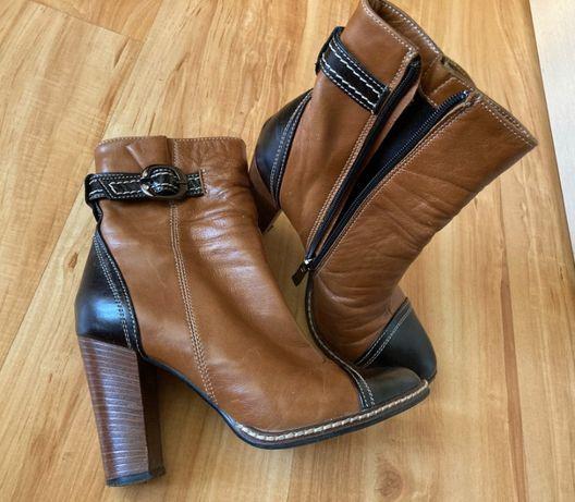 Демисезонные кожаные ботинки на каблуке, размер 36