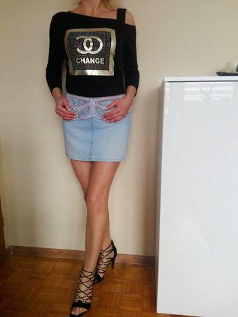 Śliczna spódnica jeansowa jasna niebieska mini haft M L GRATIS WYSYŁKA