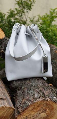 workotorebka skórzana plecak / worek torebka włoskiej marki Cinti