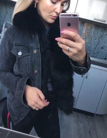 Джинсовка,джинсовая куртка пиджак с финским песцом XS-S,сапоги в подар