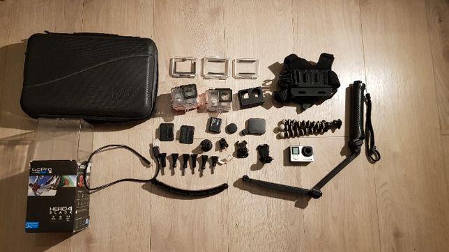 GoPro HERO 4 Black kamera, duży zestaw, karta pamięci, akcesoria