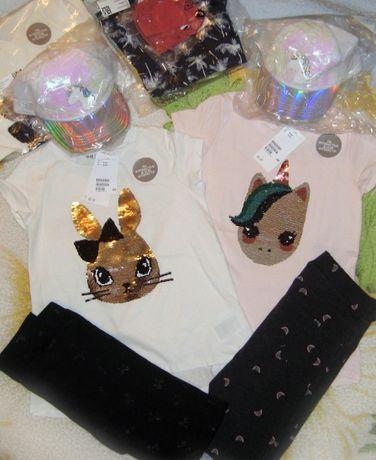 Комплект H&M штаны и футболка с пайетками для девочки 8-10 лет