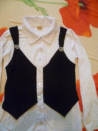 Блуза+жилет (школьная форма)