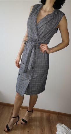 Nowa sukienka w kratę midi sukienka kamizelka marynarkowa Mohito wiąza