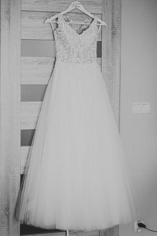 Suknia ślubna, kolor śmietankowy, rozmiar 34