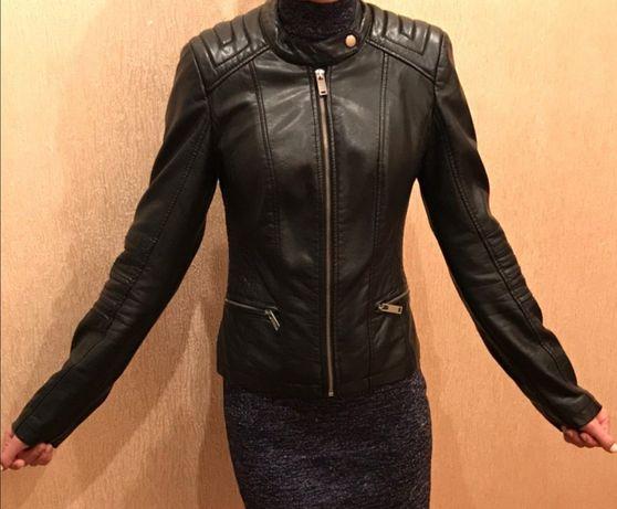 Куртка эко - кожа чёрная женская Pimkie весна осень