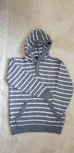 Sweterek dla chłopca, w paski, z kapturem, 128 cm