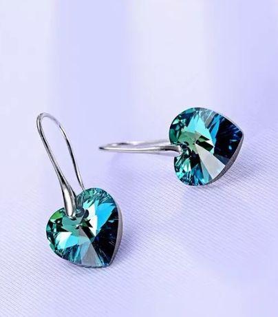 Kolczyki Swarovski Elements BERMUDA BLUE serca serduszka srebrne