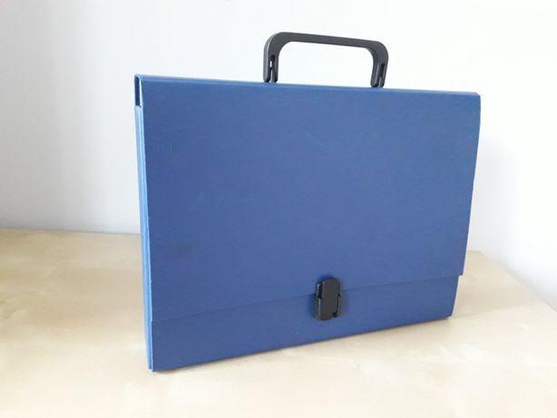 Teczka z rączką, niebieska, na dokumenty A4, grubości 5 cm