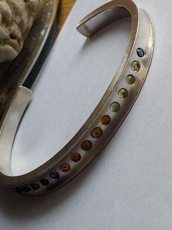 Pierre Cardin srebrna bransoletka naturalne kamienie srebro 925