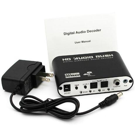 ЦАП 5.1 аудио конвертер Toslink, коаксиал - аналог RCA
