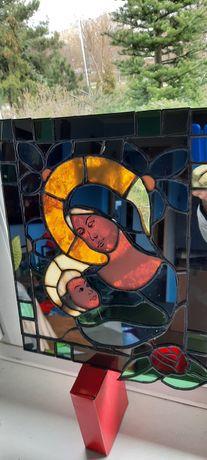 Witrażowa lustrzana ikona Matka Boża Boska z dzieciątkiem