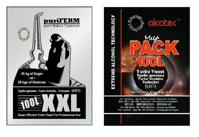 Дрожжи спиртовые PuriFerm XXL; Alcotec Mega Pack 100 литров