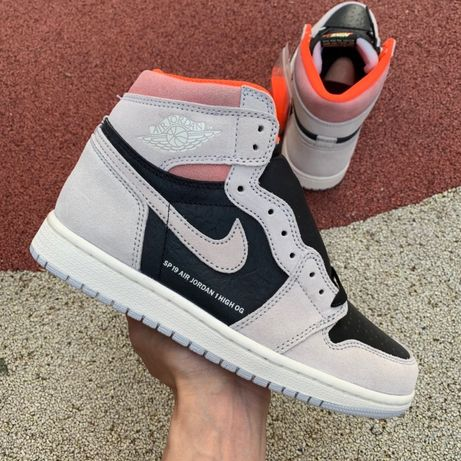 Кроссовки Nike Air Jordan 1 RETRO High Og Grey Crimson Neutral серые з