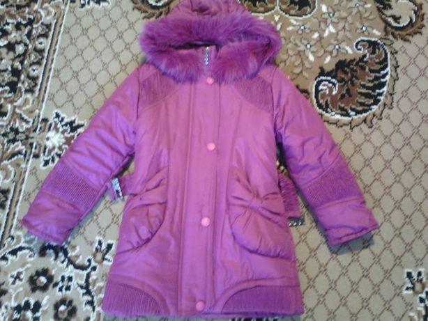 Пальто зимнее на 7-9лет