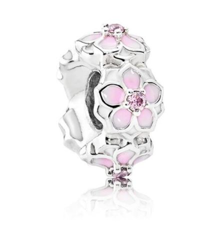 Charms PANDORA Srebro 925 kwiaty różowy kwiatek wąski cyrkonie emalia